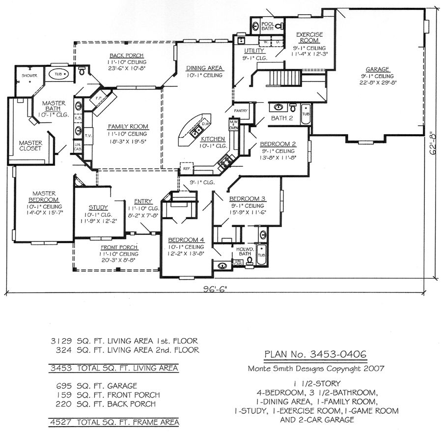 100+ [ Single Story 5 Bedroom House Plans ]   100 Country French ...
