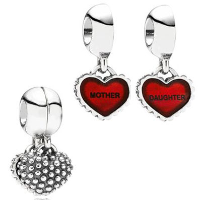 Pandora Charms Piece Of My Heart Mother Daughter Dangle With Red Enamel