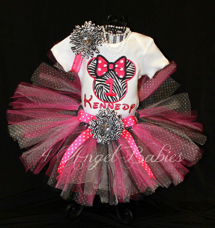 MINNIE MOUSE Inspired Hot Pink Zebra 3 Piece Glitter Tutu