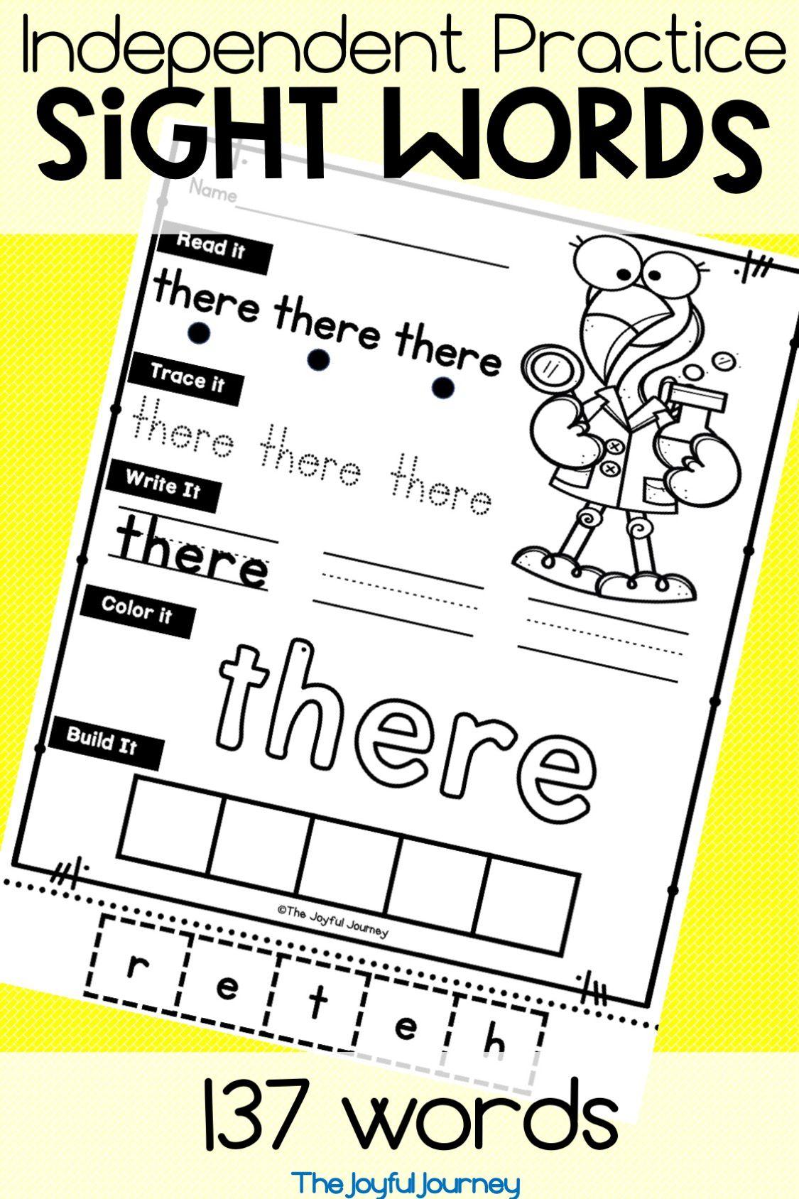 Sight Word Worksheets Kindergarten With Images