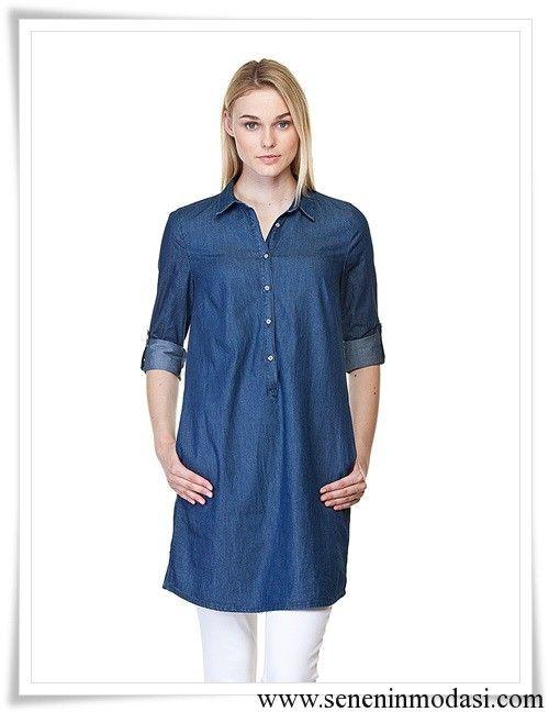 LC Waikiki koyu mavi jean tunik gömlek