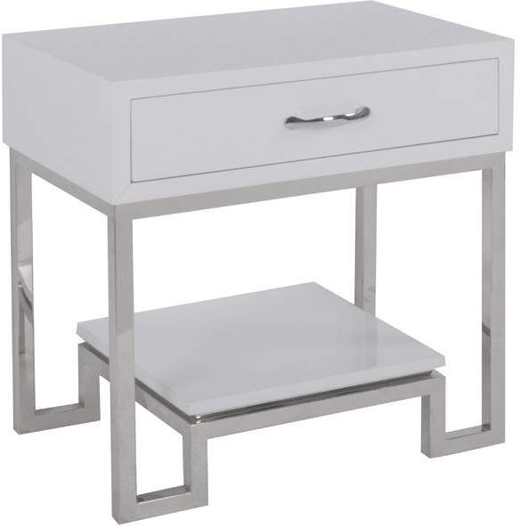 High Gloss Nightstand Bedside End Table Side table Accent W//Storage Drawer White