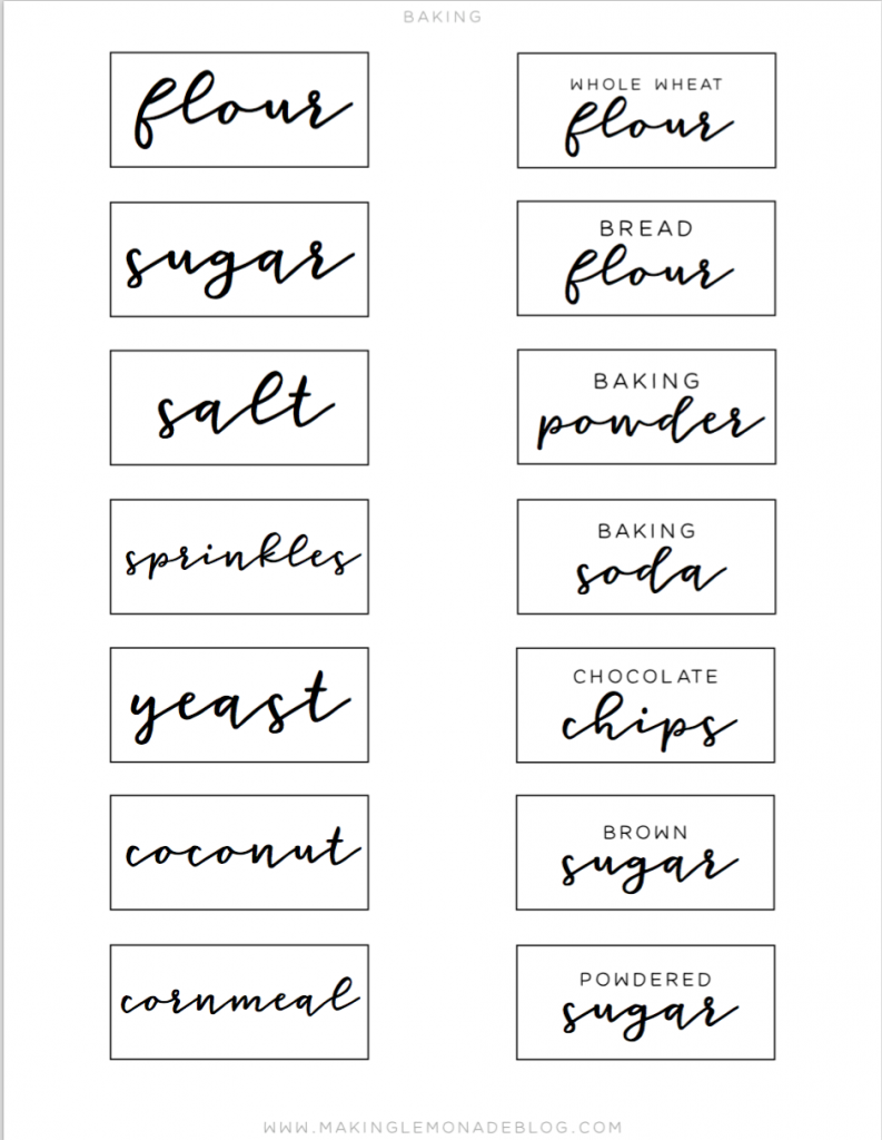 picture about Free Printable Organizing Labels titled No cost Printable Pantry Labels in direction of Arrange Your Kitchen area