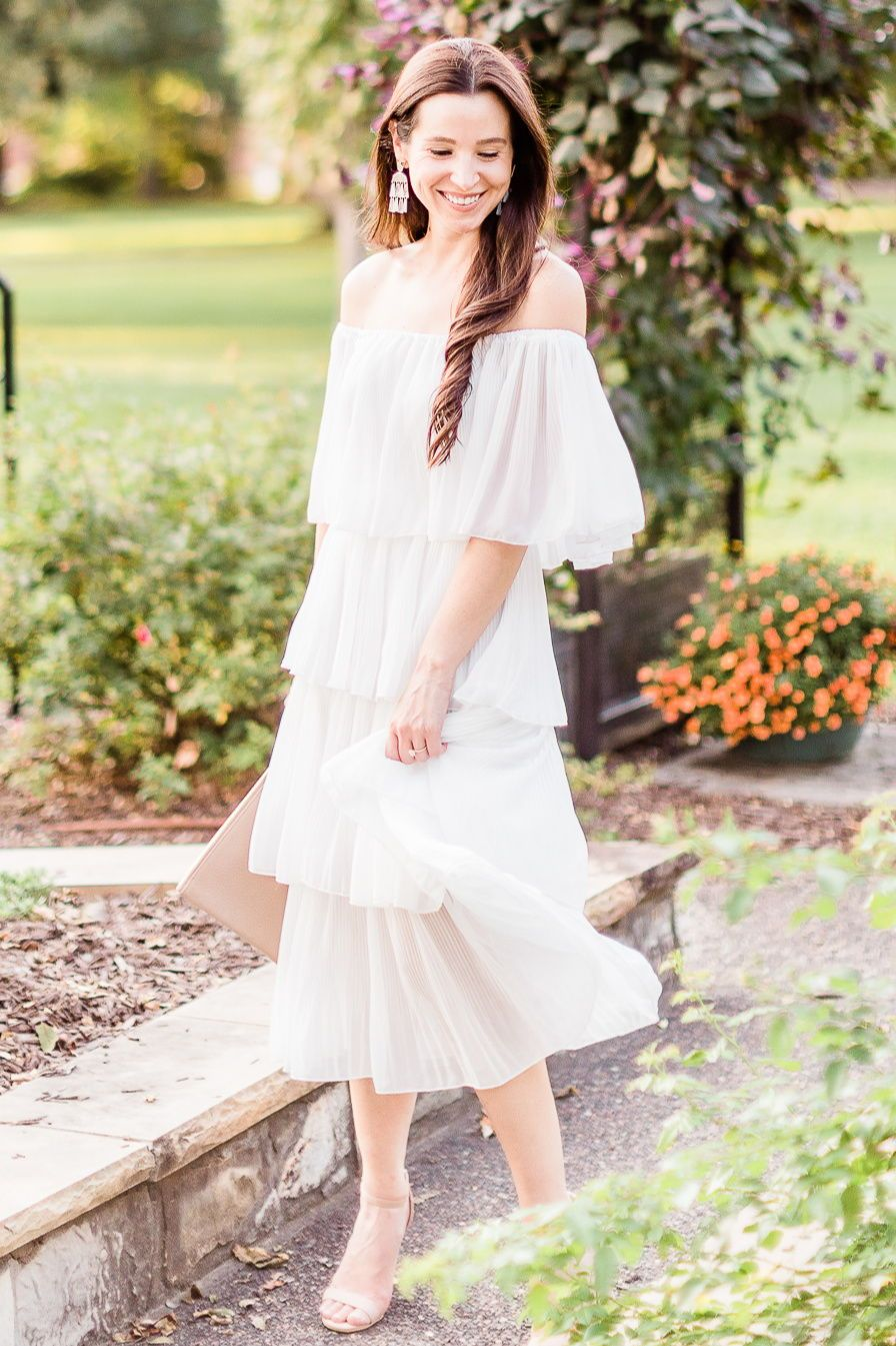 Budget Friendly Bridal Shower Dress For The Bride To Be Fall Wedding Guest Dress Wedding Guest Outfit Fall Affordable Fashion Blogger [ 1345 x 896 Pixel ]