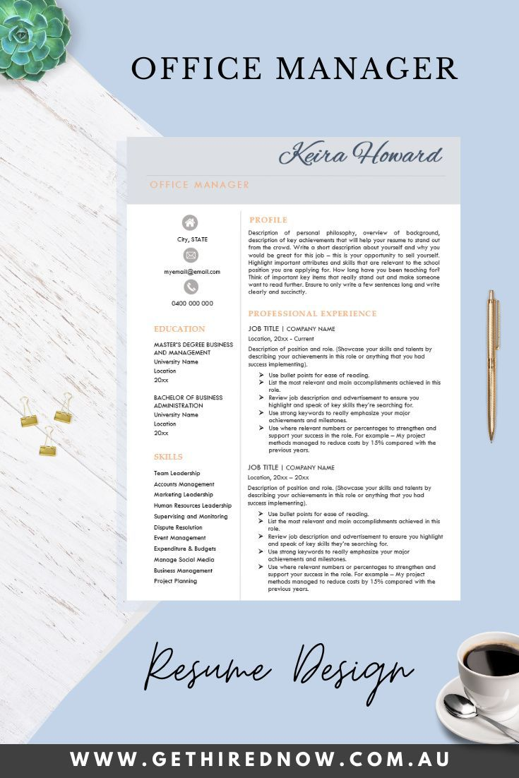 Get Hired Now Office Manager Resume Template in 2020
