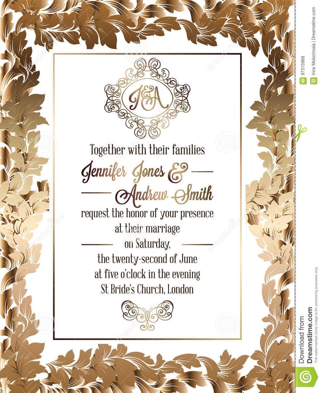 Vintage Baroque Style Wedding Invitation Card Template For Church W Wedding Invitation Card Template Wedding Invitation Cards Vintage Style Wedding Invitations