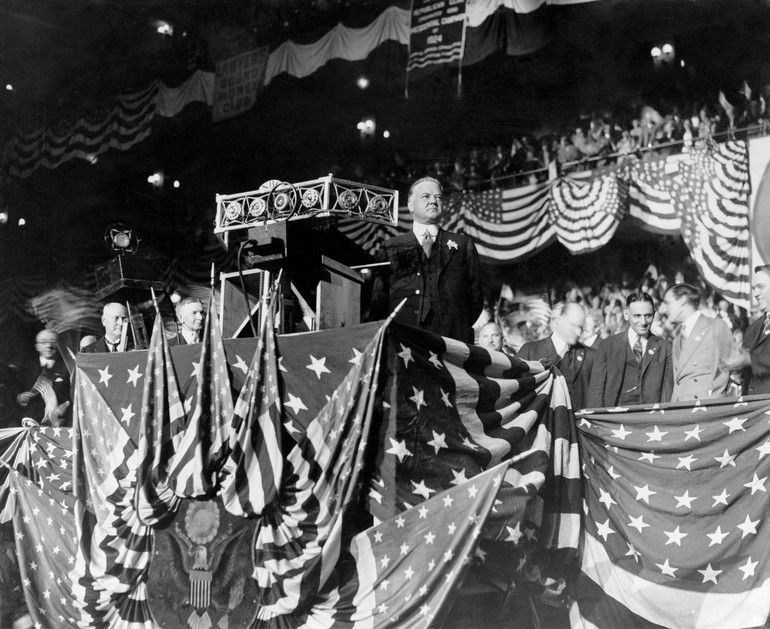 Republican nominee Herbert Hoover delivers an address in