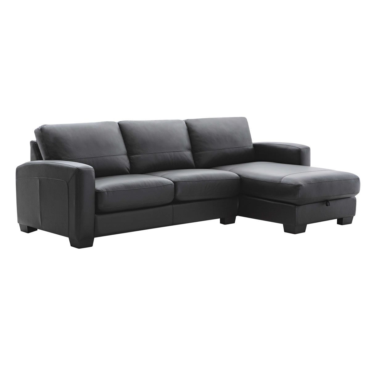 COMPAC 2.5-Seater Leather Lounge with Storage Chaise | The loungiest ...