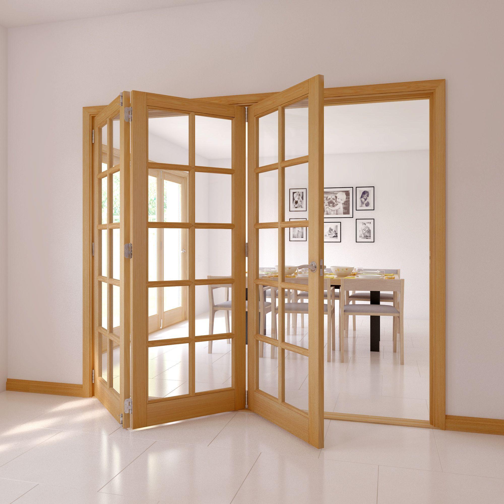 10 Lite Oak Veneer Glazed Internal Folding Door, (H)2035mm (W)2146mm ...