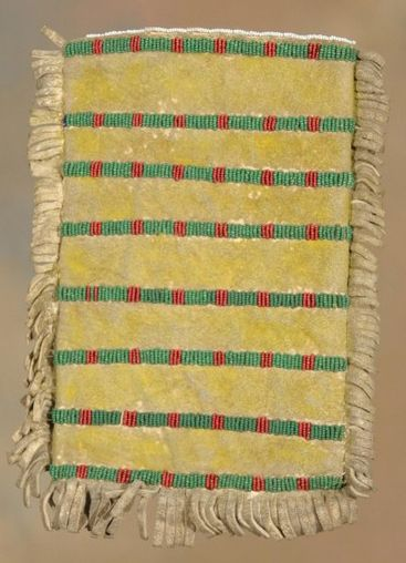 """Beaded Sioux mirror bag, 19th century (back) (2 of 2 images). 10"""" x 8"""". Fully beaded front with strip beaded back"""