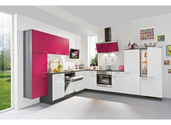 Simple K chentrends in Pink und Wei Moderne Eckk che mit Pfiff Optisch ansprechender Eck K chenblock