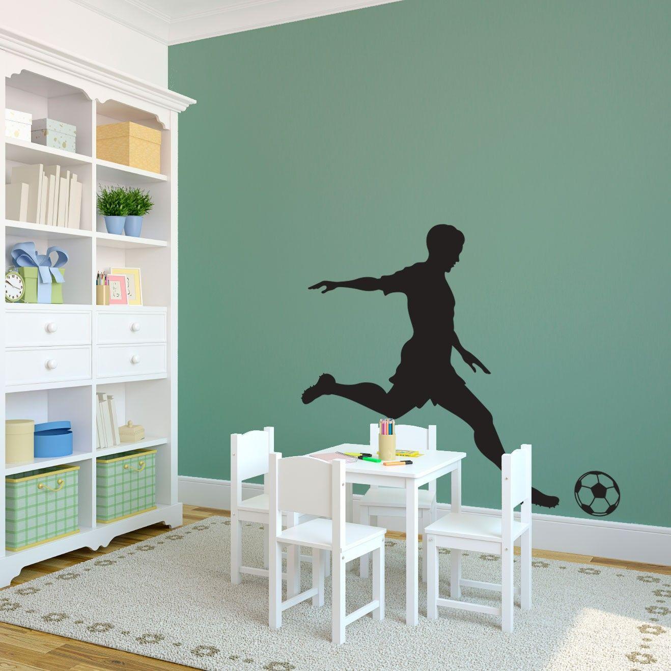 Sports Soccer Player Kicking Ball - Sports - Vinyl Wall Art Decal for Homes, Kids Rooms, Nurseries, Preschools, Kindergartens, Elementary Schools, Middle Schools, High Schools, Universities, Colleges