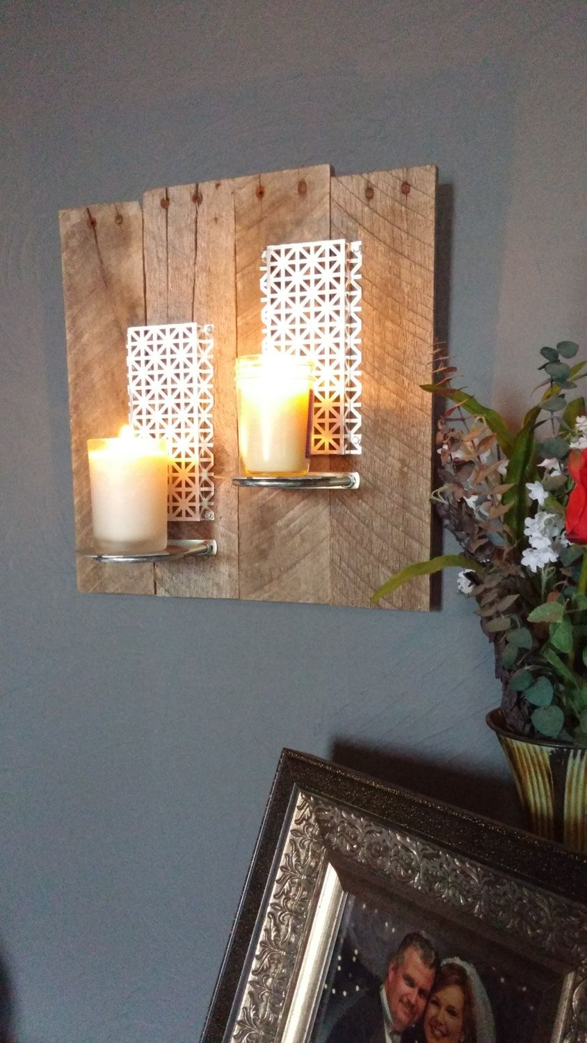 Reclaimed Wood Art - Wall Sconce. Pallet Wood. Rustic. Metal. Industrial. Rustic Art. Distressed Wood. Home Decor. Candle Holder by MLDesigns13 on Etsy