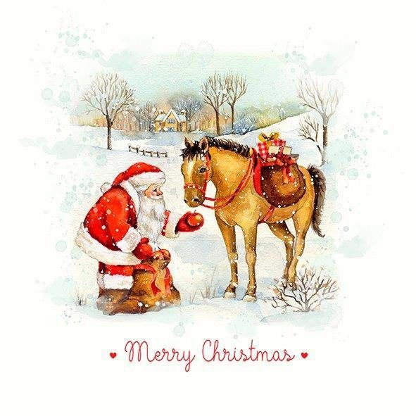 """Serviette """"Santa and Horse"""" 33 cm x 33 cm"""