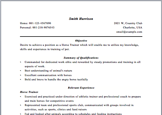 Horse Trainer Resume Aerobics Instructor Resume Samples  Httpwww.resumecareer .