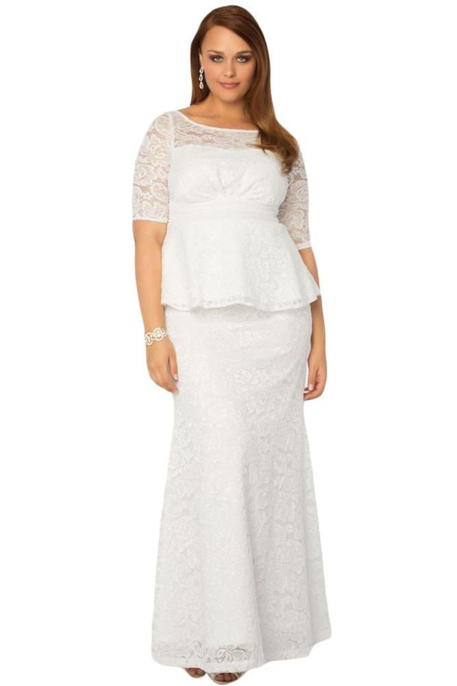 White Formal Lace Plus Size With Sleeves Peplum Dress Modeshe