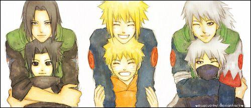 3 Minato & Naruto, Sakumo & Kakashi, Fugaku & Sasuke