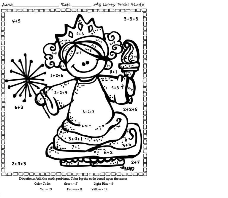 Addition Coloring Worksheets For First Grade Color