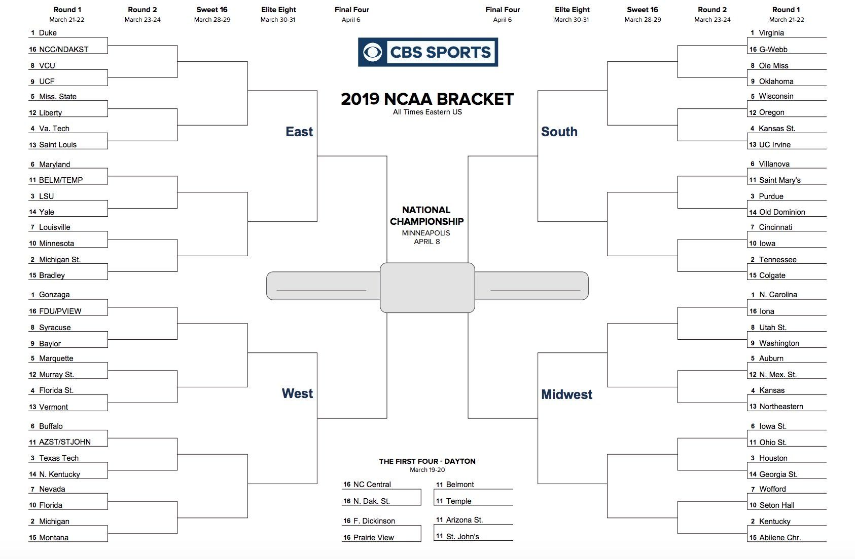 The Interesting Printable Ncaa Tournament Bracket For March Madness 2019 Regarding Blank March Madne In 2020 Ncaa Tournament Bracket Ncaa Bracket March Madness Bracket