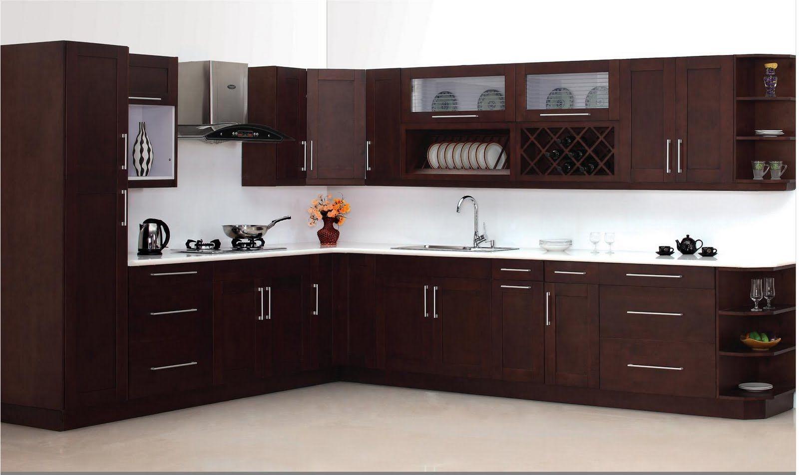 cocina grande en forma L marron oscuro | Cocinas en L in 2019 ...