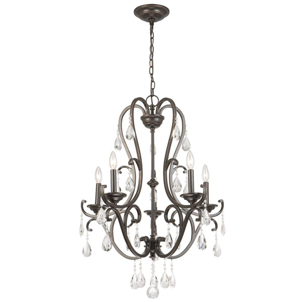 Hampton Bay 5 Light Oil Rubbed Bronze Crystal Chandelier Ihx9115a At The Home Depot