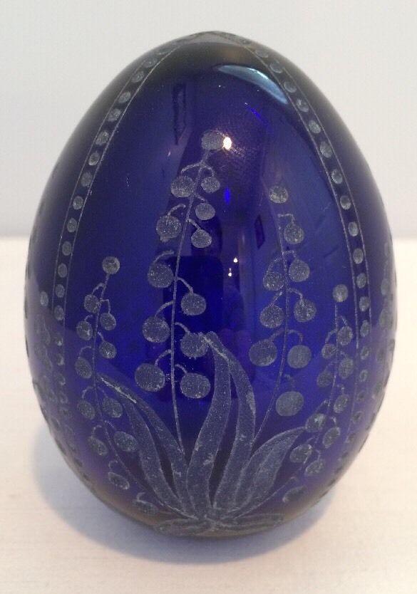 Vintage Russian Imperial Faberge Cut Crystal Cobalt Blue Art Glass Egg Signed | eBay