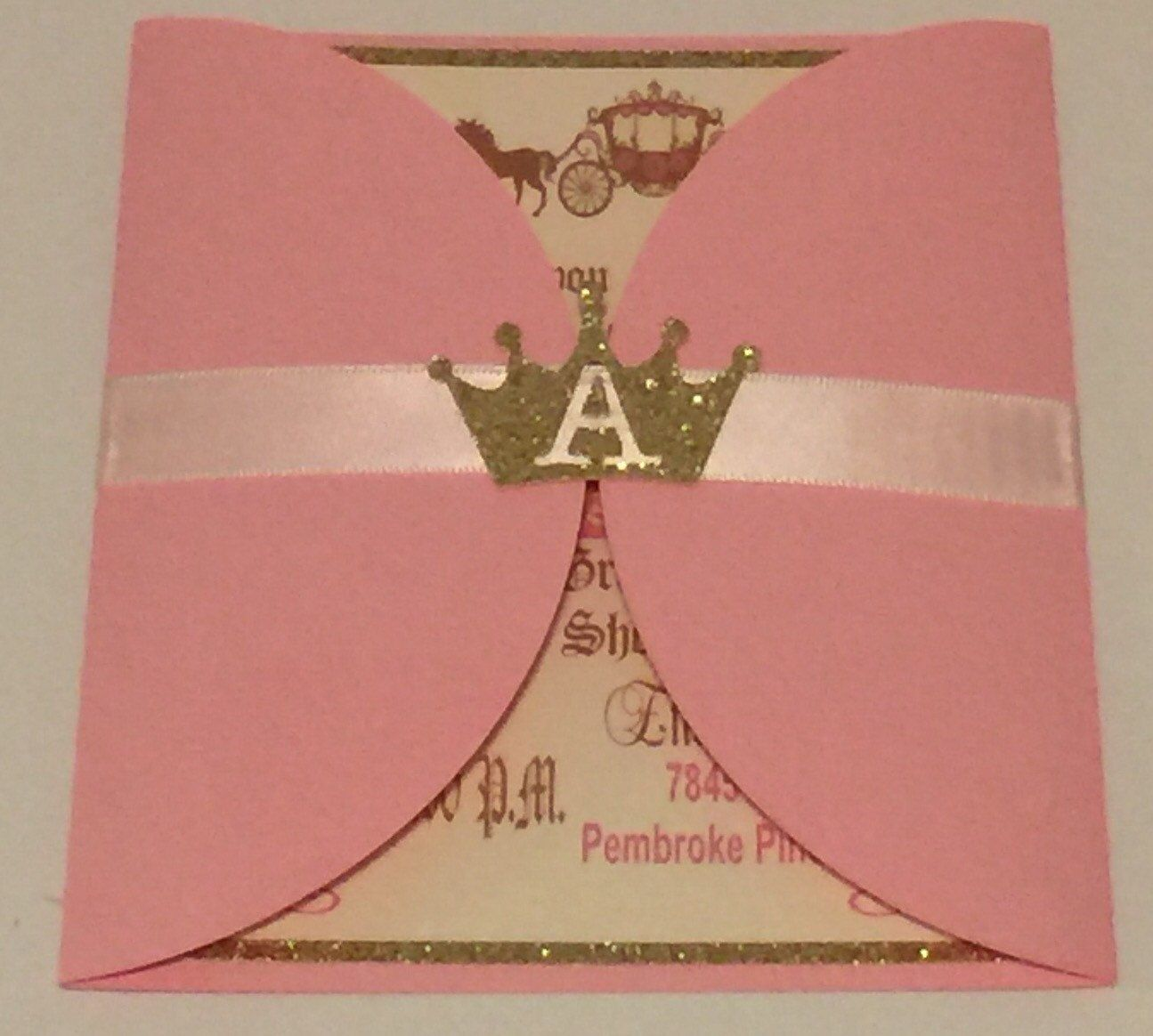 Princess theme Pink Gold Invitations Customizable by