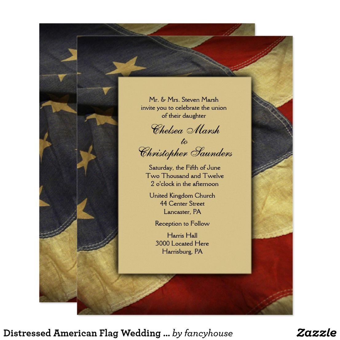 Distressed American Flag Wedding Invitations | ~Zazzle Wedding ...