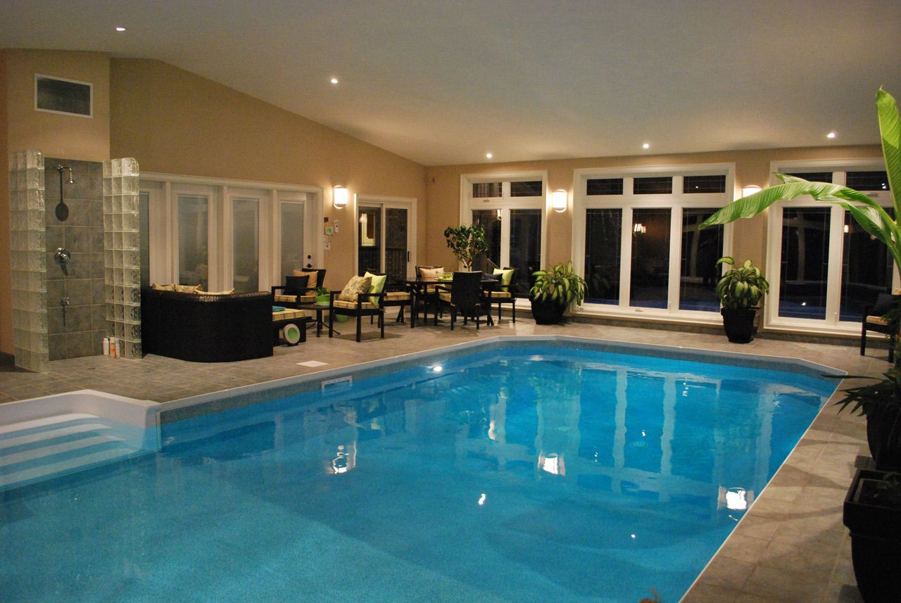 Home indoor pool with bar  Enclosed Swimming Pools Ideas | Pool Design & Pool Ideas