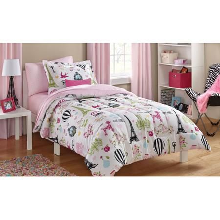 Mainstays Kids Paris Bed In A Bag Bedding Set Walmart Com Paris Bedding Kids Bedding Sets Twin Bed Sets