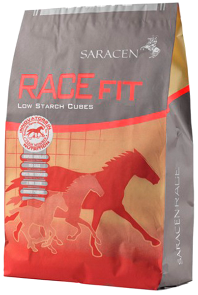 Saracen Racefit Cubes 20kg Saracen Racefit Cubes provide performance horses with a wide range of energy sources that are encased within a highly  fermentable fibre & low starch formula.