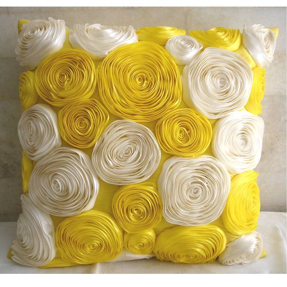 Decorative Throw Pillow Covers 18x18 Inches Silk Dupioni Pillow Cover with Satin Ribbon Embroidery - Sunny Yellow Blooms #decorationevent