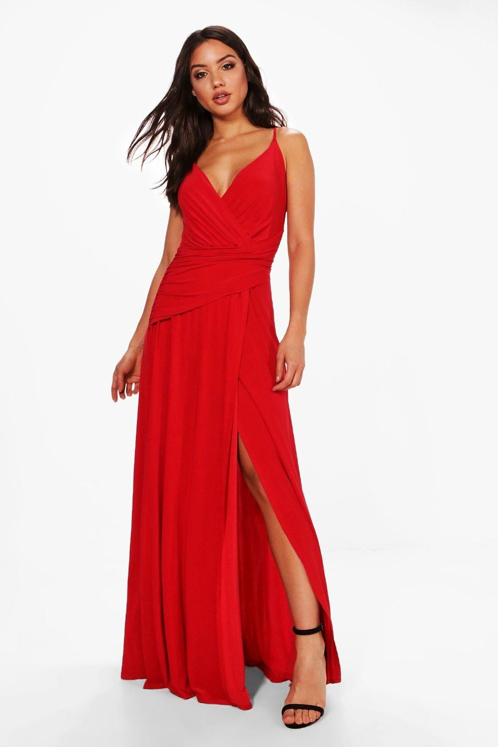 Slinky Wrap Ruched Strappy Maxi Bridesmaid Dress Boohoo Australia Red Bridesmaid Dresses Maxi Bridesmaid Dresses Maxi Dress Collection [ 1500 x 1000 Pixel ]