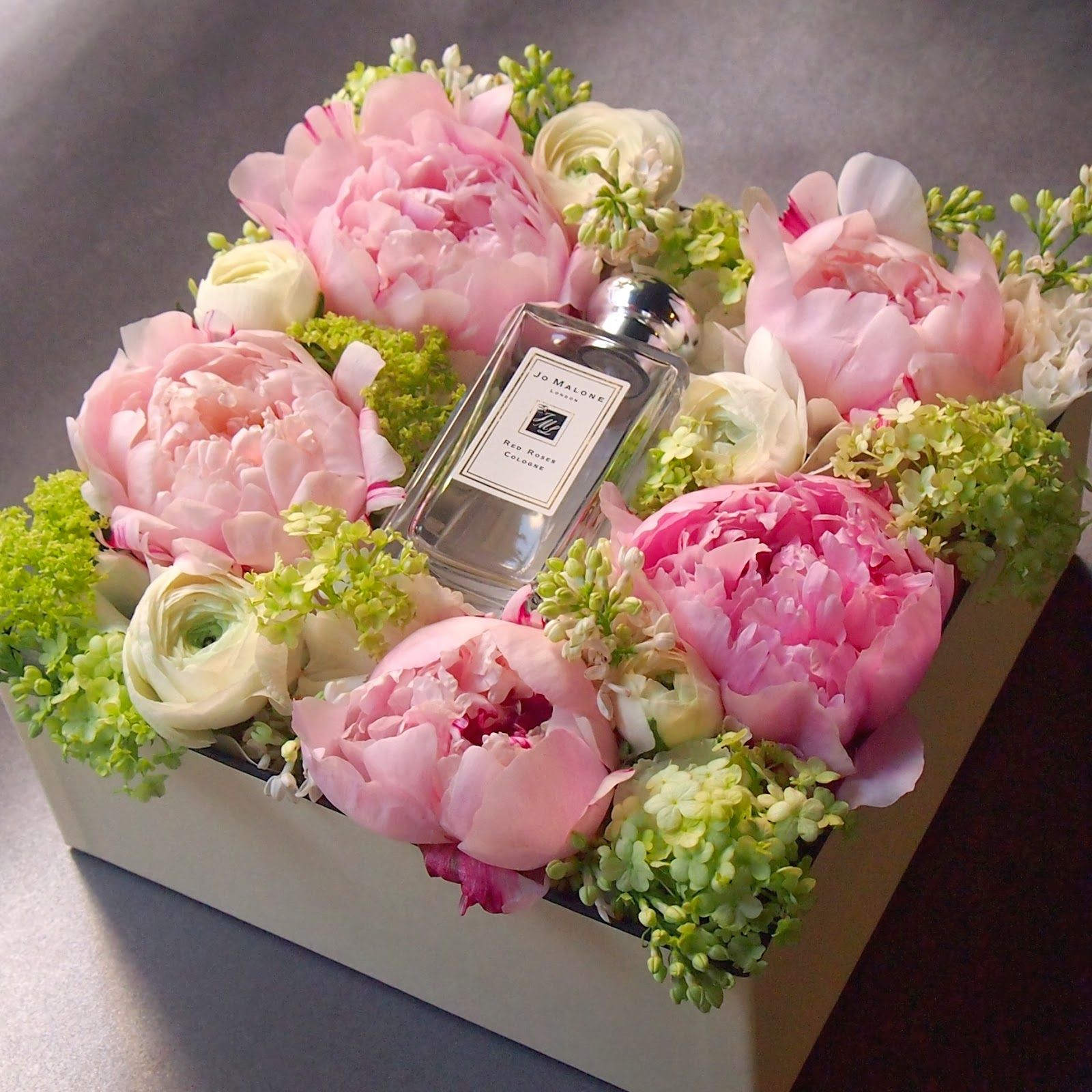 Flowers in a box Peony JoMalone Flower box gift