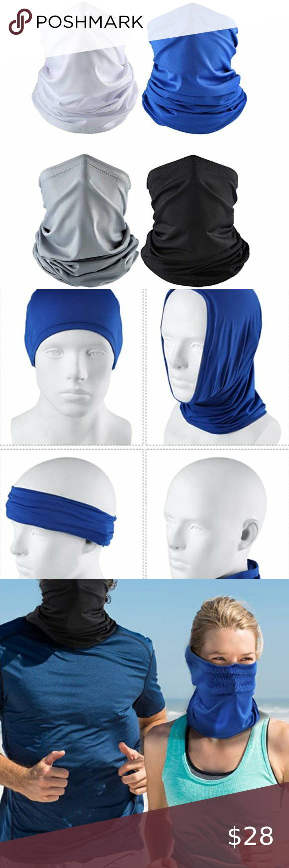 NWOT Face Cover//Neck Gator Blue With Design
