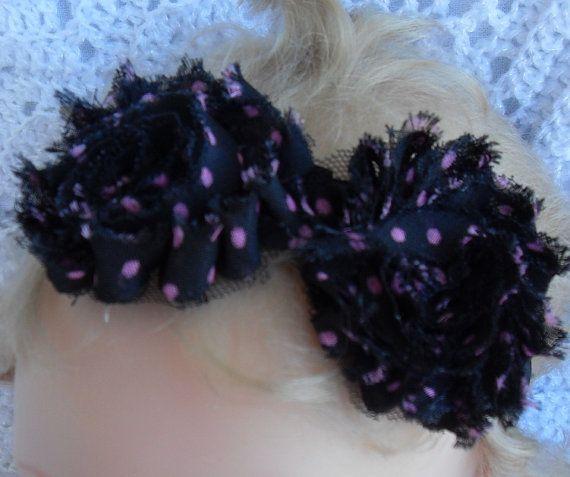 Black fabric flowers with pink polka dot by Joysheartcreations, $6.95