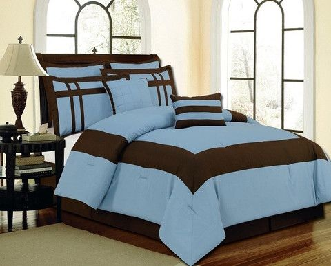 12pc Luxury Bed In A Bag Georgia Blue Chocolate Home Goods Galore Luxury Comforter Sets Luxury Bedding Luxury Bedding Sets