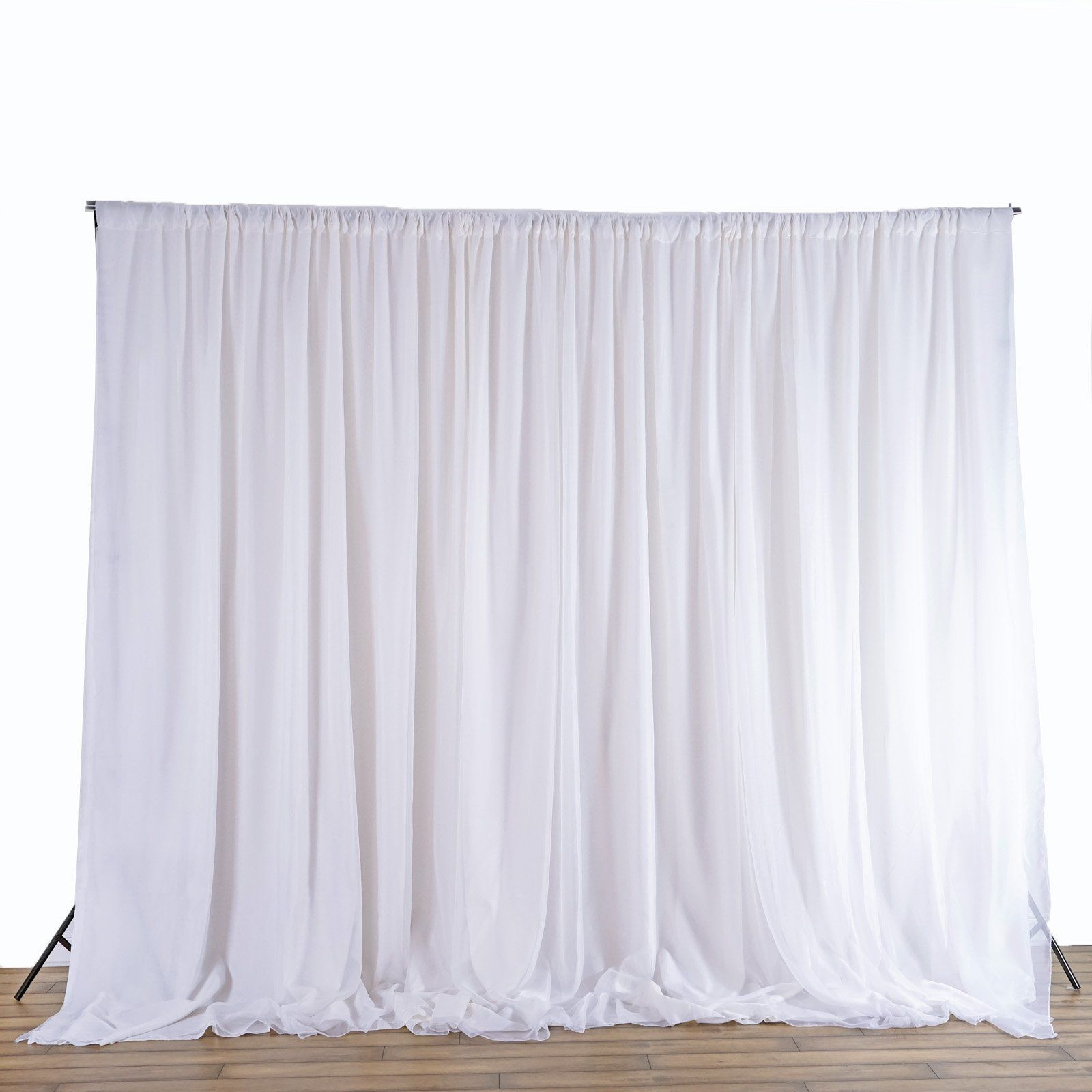 Balsacircle 20 Feet X 10 Feet White Fabric Backdrop Drapes Curtains Wedding Ceremony Event Party Photo Booth Fabric Backdrop Curtain Backdrops Drapes Curtains
