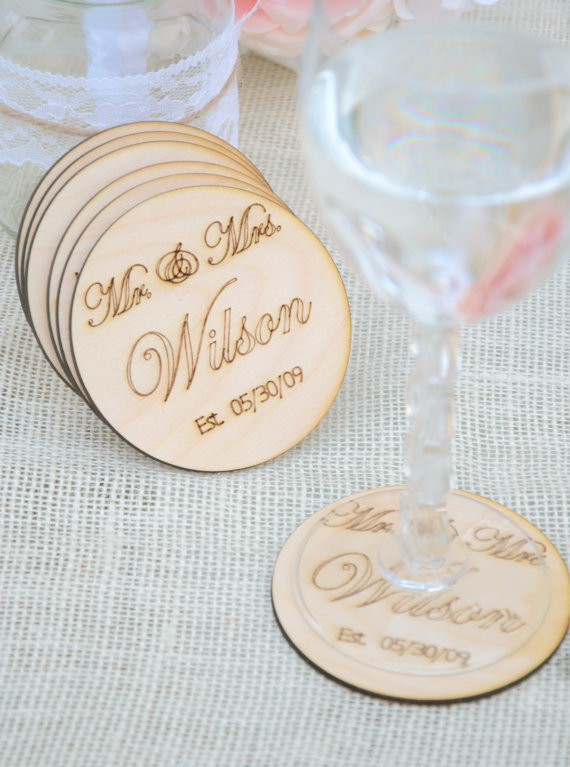 Personalized Mr And Mrs Coasters Set Of 6 Engraved Wooden Coasters