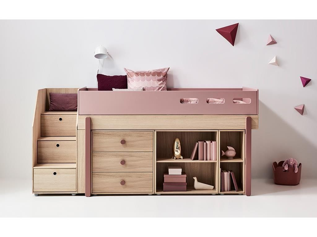 flexa popsicle midisleeper mit stauraum treppe cherry. Black Bedroom Furniture Sets. Home Design Ideas