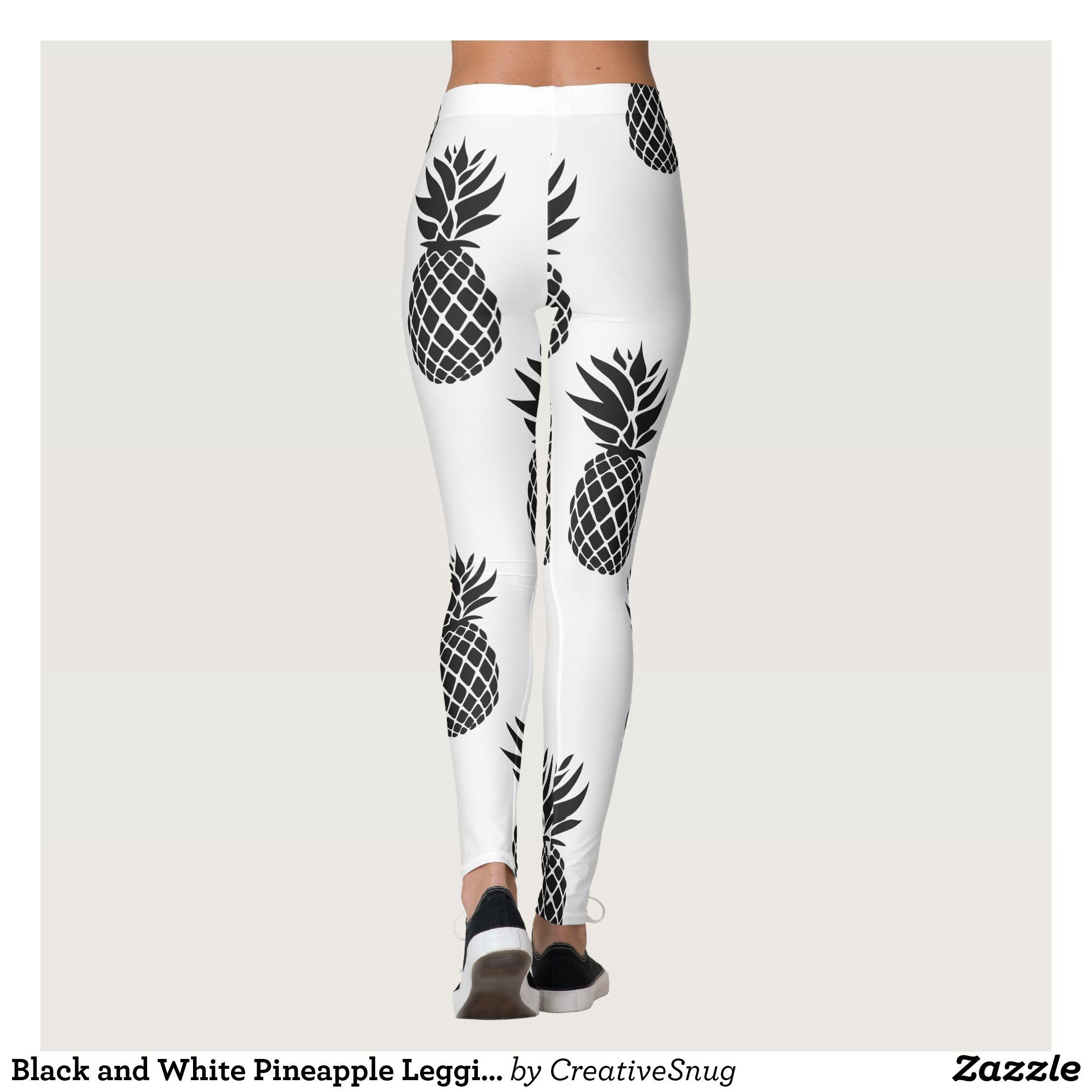 752d406fc7a4b Black and White Pineapple Leggins Leggings : Beautiful #Yoga Pants -  #Exercise Leggings and