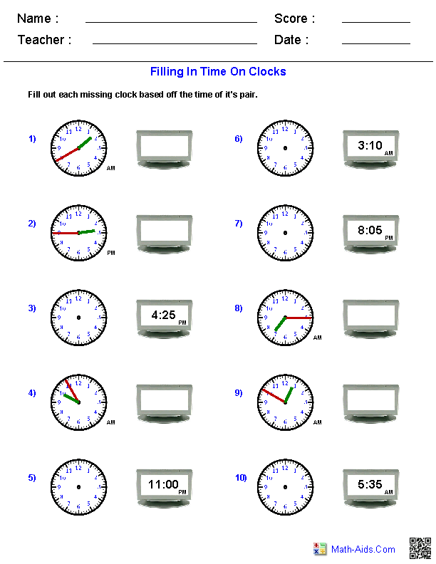 Reading Analog and Digital Clocks Worksheets | Math-Aids.Com ...