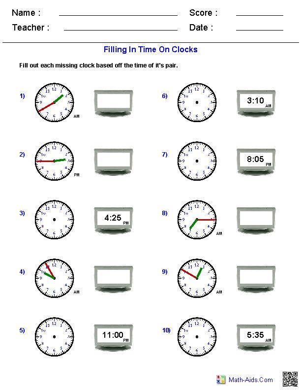 Reading Analog and Digital Clocks Worksheets – Clock Worksheets Grade 3