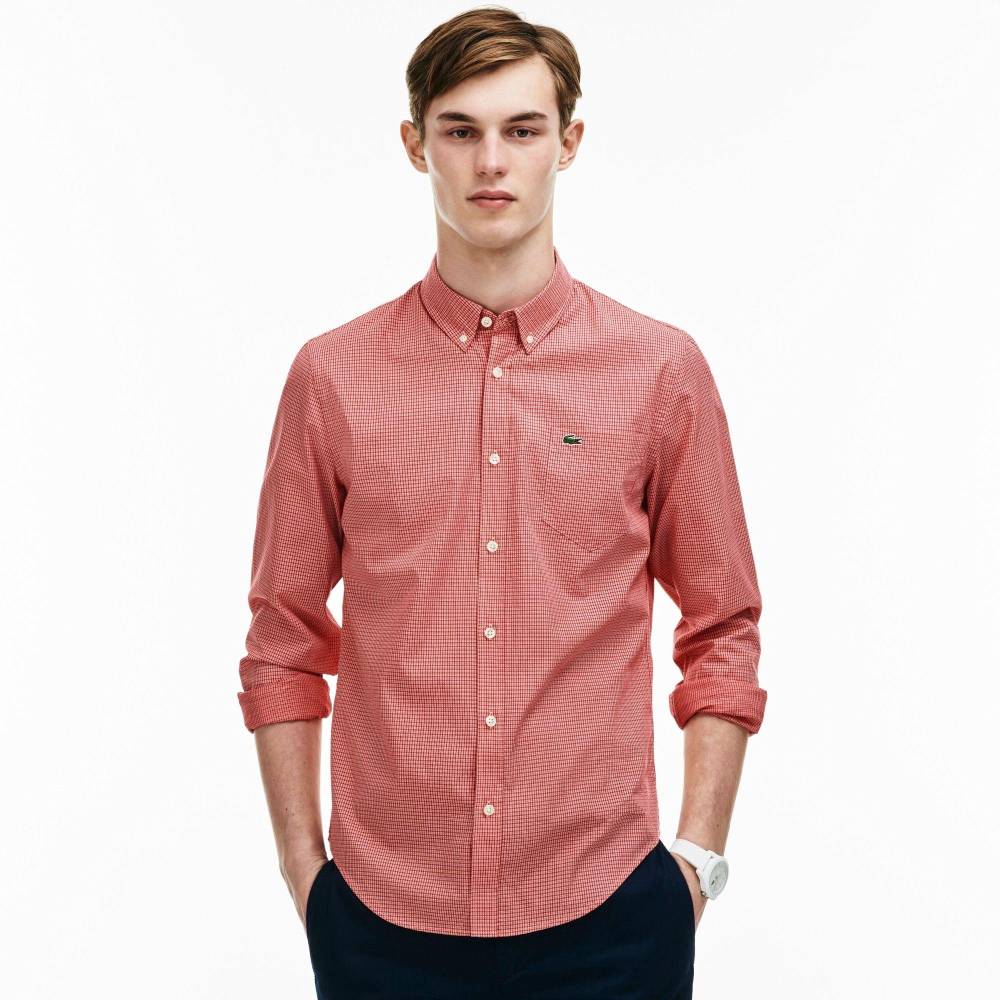 e08ee119da LACOSTE Men's Slim Fit Checked Jacquard Cotton Poplin Shirt - red ...