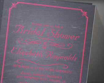 Pink And Black Chalkboard Bridal Shower Invitation