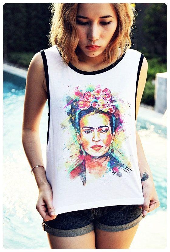 df94c91e2e2 Frida Kahlo Tank Top Shirt Sideboob Punk Rock Sexy Summer Short Tops Size  S, M, L