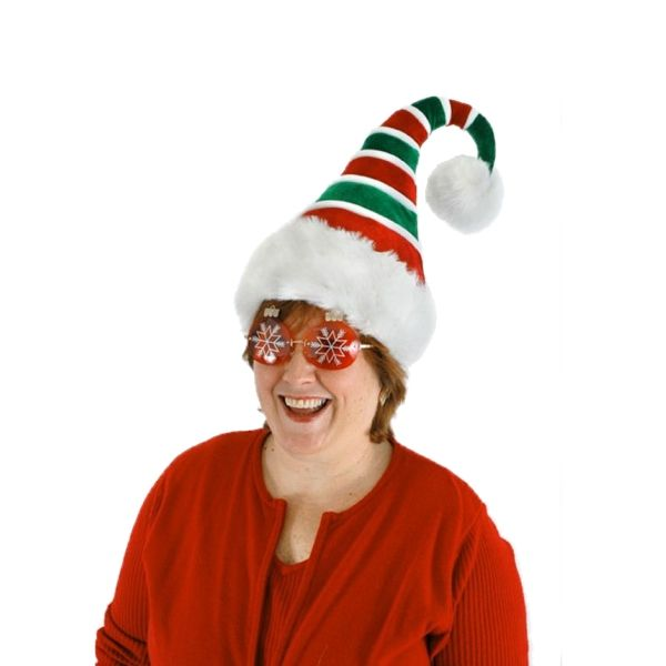 b78dad92e4e42 The Velvet Pointed Santa Hat takes a unique twist on the typical Santa hat.  This Velvet Pointed Santa Hat has red and green spiral pattern and fur-like  trim ...