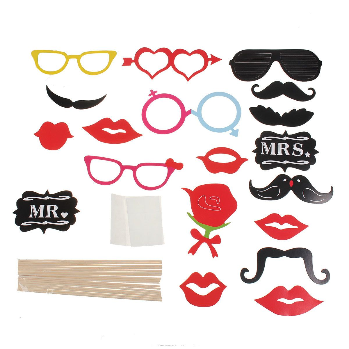 18PCS Photo Booth Wedding Props Mustache Mask Props Party Queen Christmas Happy Birthday Decoration