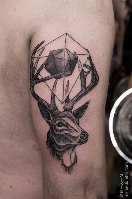 Geometric Deer Triceps Tattoo