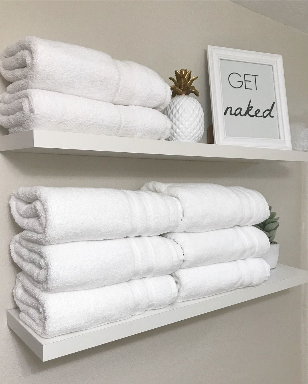 White Bathroom Floating Shelves Towel Storage Towel Shelves White